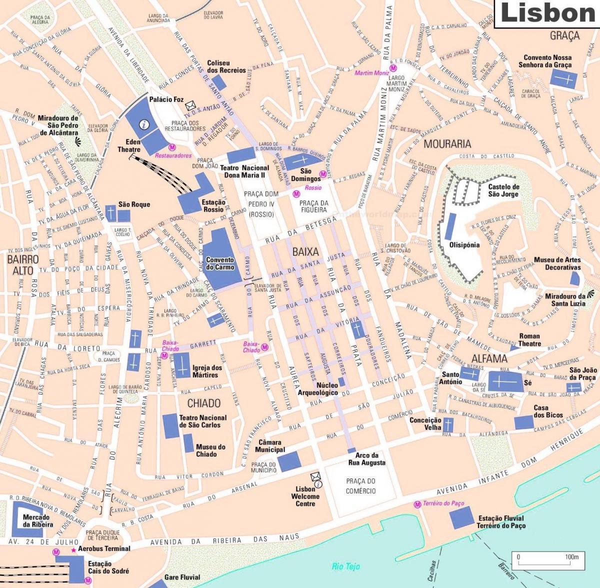 Quartier Baixa Lisbonne Carte.Le Quartier De La Baixa De Lisbonne La Carte Carte De La